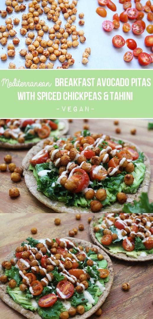Mediterranean Breakfast Avocado Pitas with Spiced Chickpeas & Tahini | Zena 'n Zaatar