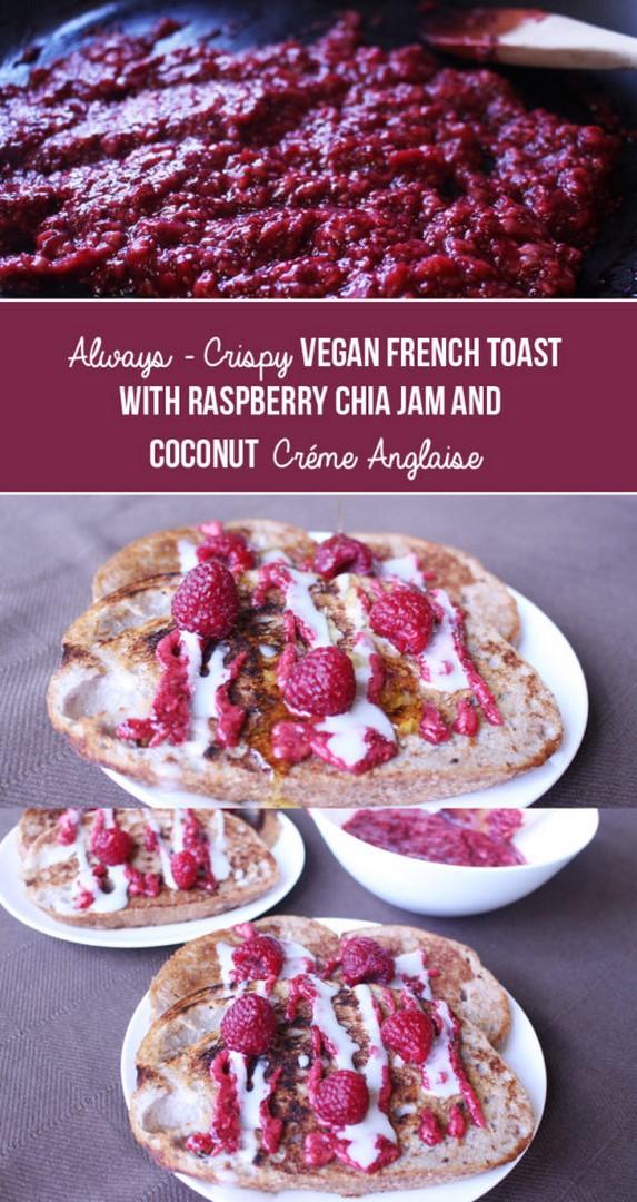 Always-Crispy Vegan French Toast with Raspberry Chia Jam & Coconut Crème Anglaise | Zena 'n Zaatar