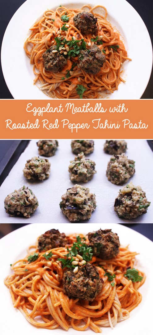 Eggplant Meatballs with Roasted Red Pepper Tahini Pasta | Zena 'n Zaatar