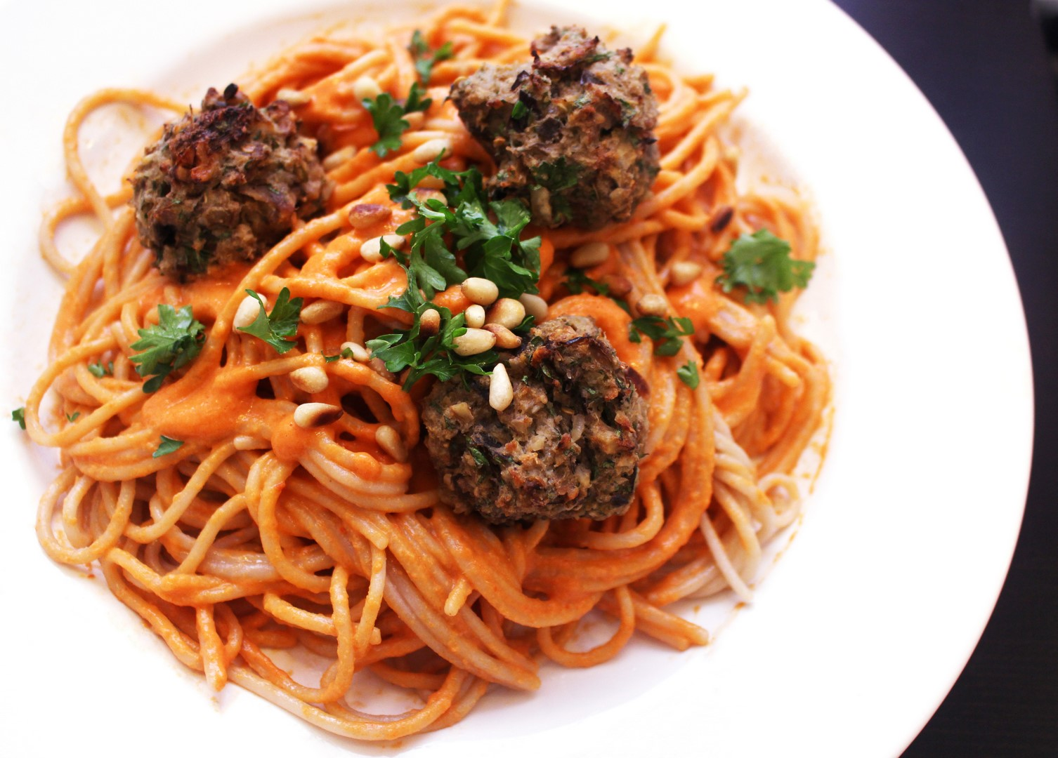 eggplant meatballs with roasted red pepper tahini pasta