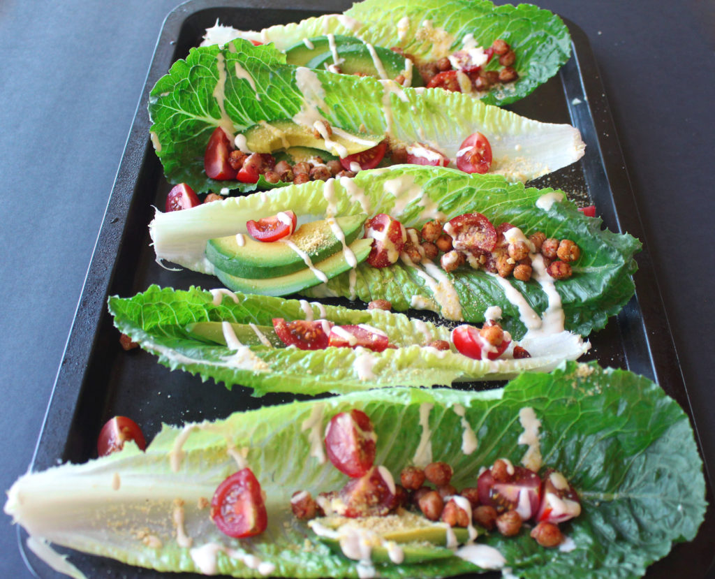 chickpea caesar lettuce wraps boats vegan gluten free avocado salad recipes zena zaatar zenanzaatar food blogger vegetarian
