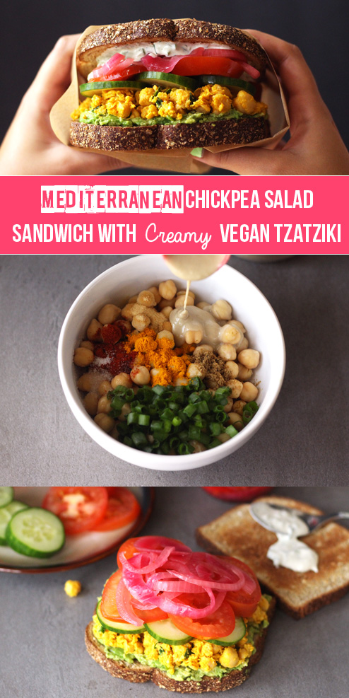 Mediterranean Chickpea Salad Sandiwhc with Creamy Vegan Tzatziki (V) | Zena 'n Zaatar