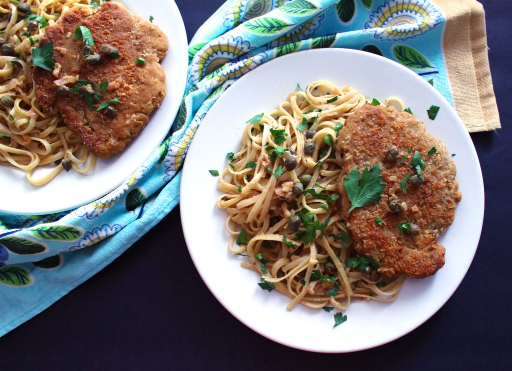 vegan chicken piccata seitan vegetarian pasta italian linguine spaghetti recipes food blog zenanzaatar fried breaded caper lemon