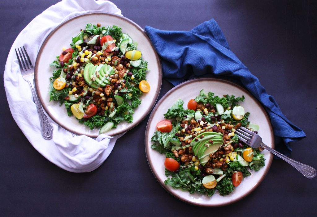 tempeh kale taco salad mexican vegan vegetarian gluten free avocado food blog zenanzaatar
